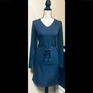 Navy Blue Sweater Dress, Drawstring at Waist,Sz.M